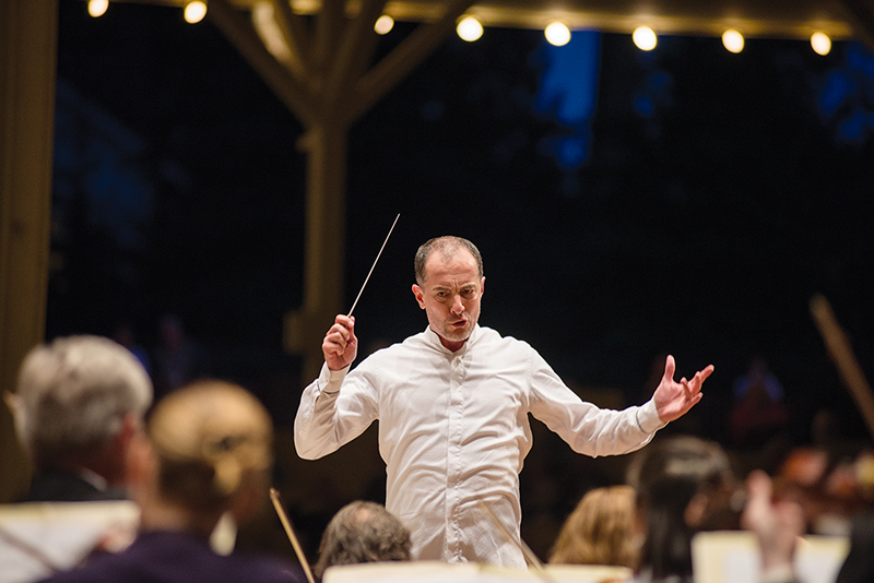 Rossen Milanov directs a section of the Chautauqua Symphony Orchestra in 2014. Photo by Rachael Le Goubin