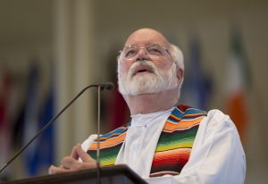 Fr. Greg Boyle, S.J., delivers his sermon during Sunday's morning worship service June 26, 2016 in the Amphitheater. Photo by Dave Munch.