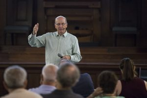 Trustee Ron Kilpatrick speaks during the Trustee Conversation event Monday, June, 27, 2016, in the Hall of Christ. Kilpatrick spoke about the Chautauqua Institution's finances and their sustainability.