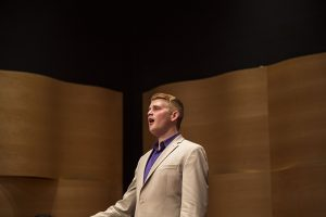 "James Smidt sings ""idle"" by Paolo Tosti during the student voice recital on Tuesday held in Fletch Hall. Smite is a graduate of UNC Greensboro and will be pursuing his Masters at the Maryland Opera Studio at the University of Maryland in the Fall."