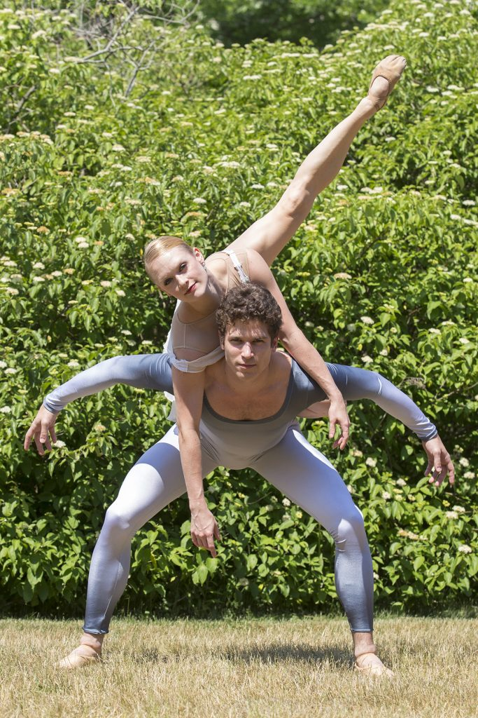 "Dancers Sarah Hayes Harkins and Josh Hall from the Charlotte Ballet perform a pose from ""Ever After"" on Saturday, June 25, 2016 by the Carnahan-Jackson Dance Studio. Photo by Mike Clark."