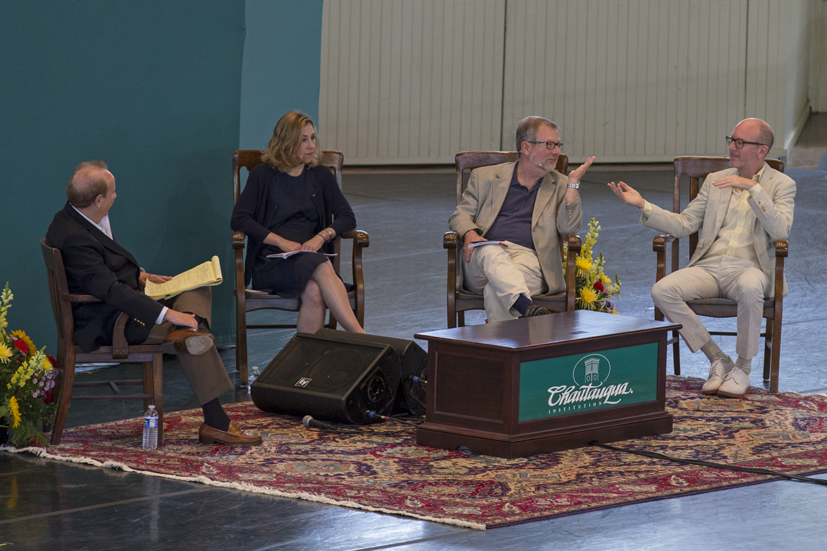 Roger Rosenblatt, left to right, interviews editor of The New York Times Book Review, Pamela Paul, editor of The Kenyon Review, David Lynn and editor-in-chief of The Paris Review, Lorin Stein during the morning lecture Tuesday, June 28, 2016 at the Amphitheater.