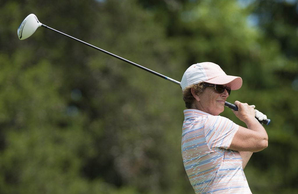 Colleen Reeve tees off during the 30th Annual Charity Pro-Am Golf Tournament on the Chautauqua golf course on June 28, 2016. The pro winner was Kirk Stauffer with a score of 66 and the winning team was Danny Kaye, Scott Christ, Bill Bernard, and Mike Wimer with a score of 128. Photo by Sarah Holm.