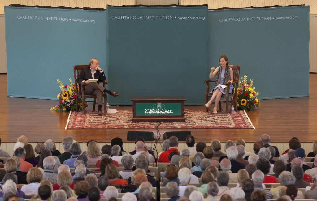 "Roger Rosenblatt, left, talks to Ann Patchett, right, in the Amphitheater on June 30, 2016, as part of the Week One morning lecture series ""Roger Rosenblatt & Friends: On Creative Expression."" In their conversation, Patchett and Rosenblatt discussed varying topics, including caretaker for someone with a serious illness, why magic as a trade is often misogynistic,  Patchett's knack for financial management as a teenager, and the ""invisibilities"" that go into a novel. Photo by Carolyn Brown."