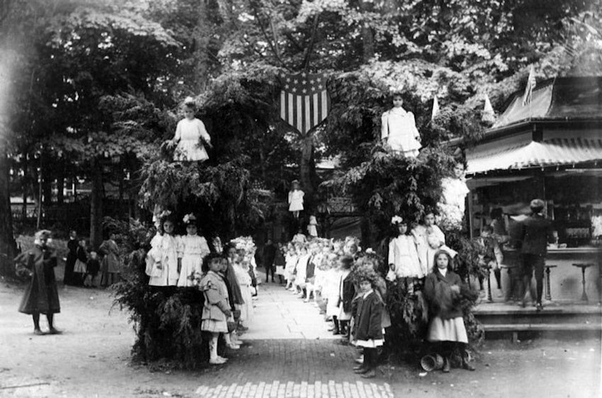 Courtesy of Chautauqua Institution Archives.  In this photo from 1905, flower children get ready to meet President Theodore Roosevelt behind the Amphitheater.