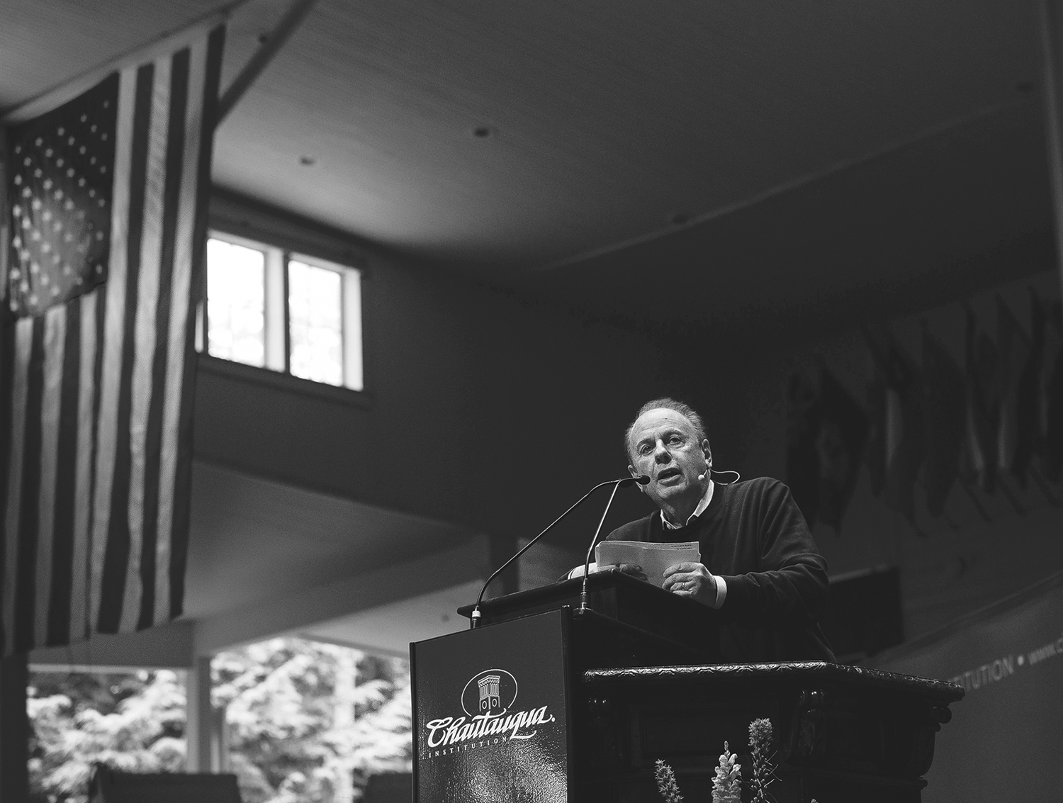 Roger Rosenblatt distingushed professor of english and writting at Stony Brook Univeritsy, speaks at the Amphitheater on Tuesday morning june 30,2015