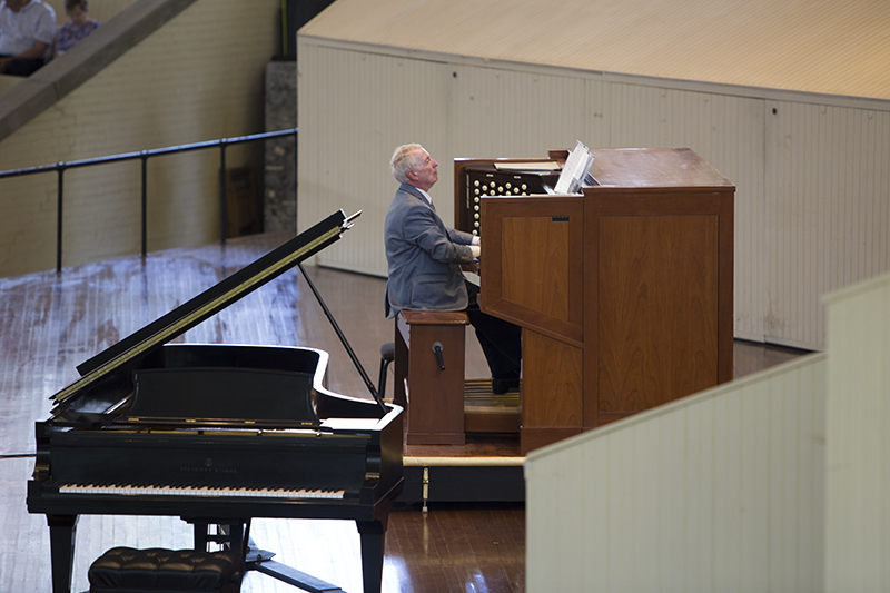 Jared Jacobsen plays the Massey Memorial Organ during Sunday's morning worship June 25, 2016 in the Amphitheater. Photo by Eslah Attar