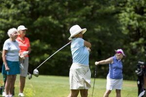 Monica Gardner, Jane Stirniman, Suzanne Gross and Leslie Peet compete in The Chautauqua Ladies' Golf League on Hill Course Tuesday June 28, 2016. The pair Judy Kullberg and Suzanne Maurer finished first in the tournament. Photo by Eslah Attar