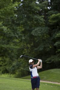 Anne Neville tees on the 15th hole of the Hill Course as part of the Chautauqua Ladies' Golf League Wednesday June 28, 2016. Kullberg paired with Suzanne Maurer to win the tournament. Photo by Eslah Attar