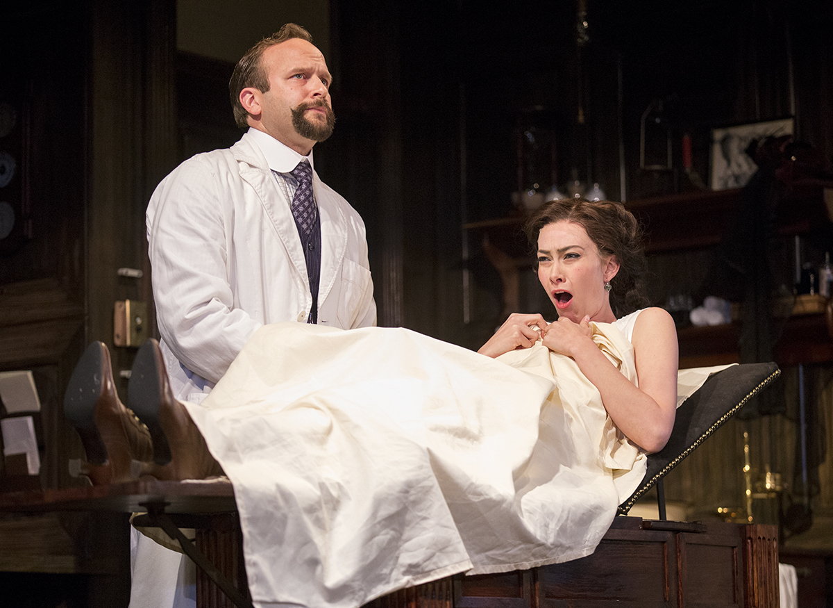 "Adam J. Smith and Allison Altman perform as Dr. Givings and Sabrina Daldry in the dress rehearsal for ""In The Next Room (or the vibrator play)"" on Thursday, June 30, 2016 in Bratton Theater. The production which opened Friday runs through July 10."
