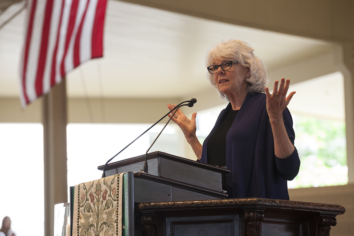 "Rev. Barbara Brown Taylor delivers the sermon ""The Cheap Cure"" at 10:30 AM at the July 3, 2016, Sunday Morning Worship service at the Ampitheater. Taylor's sermon discussed the day's reading from II Kings 5:1-4, which told the story of the Syrian military general Naaman, who traveled to Israel to be healed of his leprosy on the advice of his wife's Hebrew slave girl."
