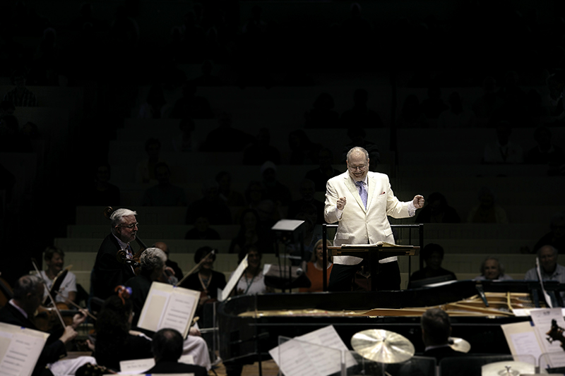 Guest Conductor Stuart Chafetz leads the Chautauqua Symphony Orchestra during the annual Independence day pops concert July 3, 2015.