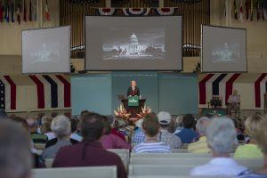 "Trevor Potter, President of The Campaign Legal Center, presents the morning lecture, ""A Republic, If We Can Keep It,"" in the Amphitheater on July 4, 2016. Photo by: Sarah Holm"