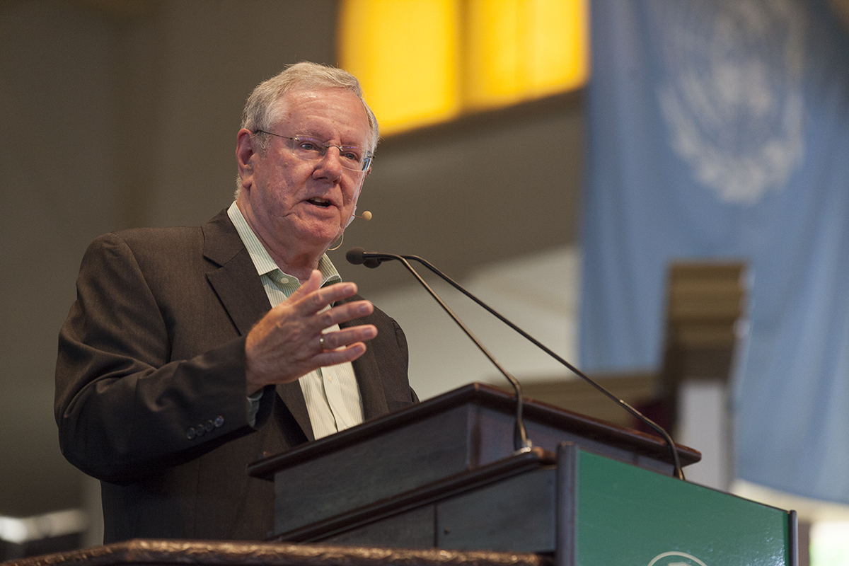 "Steve Forbes, Editor-in-Chief of Forbes Magazine, delivers his talk at 10:45 AM on July 6, 2016, in the Amphitheater, as part of the Week Two theme, ""Money and Power."" In his talk, Forbes discussed Brexit, the world economy, his ideas for fixing the Federal Reserve, the problems with the American healthcare system, and why the US should be on the gold standard.  Photo by Carolyn Brown"