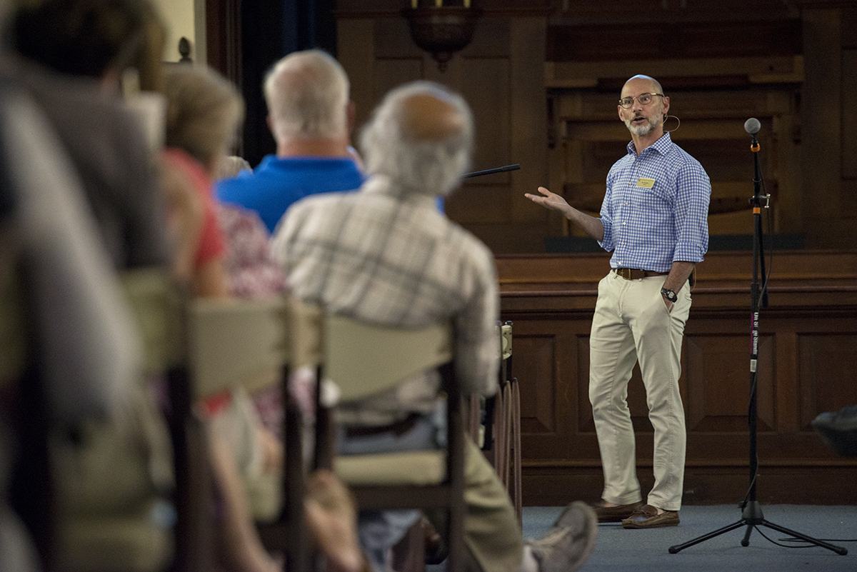 Tim Renjilian, Senior Managing Director with FTI Consulting, presents about re-imagination of programming at the Board of Trustees porch chat in the Hall of Christ on July 6, 2016.