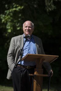 Tom Becker, president of Chautauqua Institution, speaks at the Ryan Kiblin Memorial Stormwater Park  dedication ceremony on June 30, 2016. Kiblin was the grounds, gardens and landscapes manager for the Institution and this was the last park she worked on before she passed away in 2014.