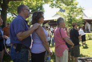 Attendees gather at the Ryan Kiblin Memorial Stormwater Park dedication ceremony on June 30, 2016. Kiblin was the grounds, gardens and landscapes manager for the Institution and this was the last park she worked on before she passed away in 2014.