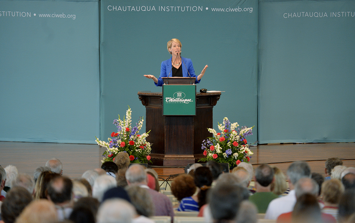 Zephyr Teachout, Democratic nominee for Congress in New York's 19th District, speaks on the influence of money in politics on the Amphitheater stage Thursday, July 7, 2016.