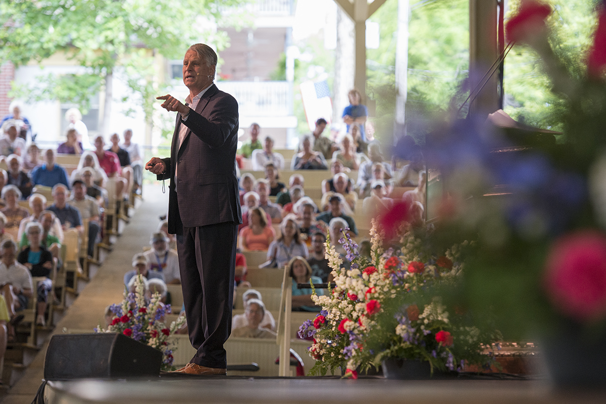 "Timothy J. Roemer, former U.S. ambassador to India and senior strategic advisor delivers his lecture, ""A Tsunami of Big Money on America,"" in the Amphitheater on July 8, 2016."