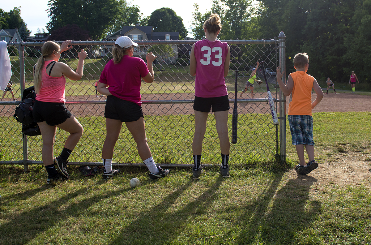 Players on the Hot Chauts watch the game from the sidelines at Sharpe Field on July 7, 2016.