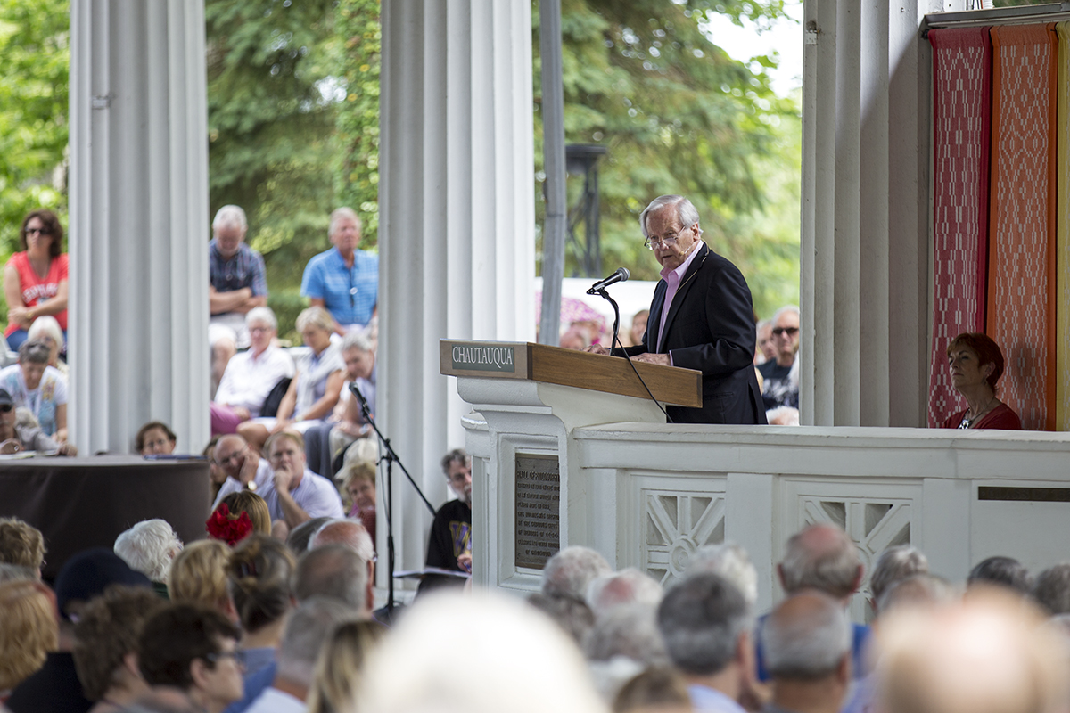 "Journalist Bill Moyers gives the afternoon lecture titled ""The Soul of Democracy"" on Friday, July 8, 2016, in the Hall of Philosophy."