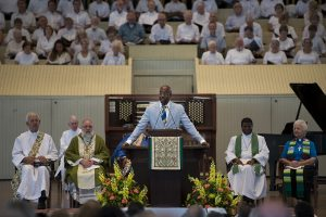 "The Rev. Raphael Warnock delivers his sermon, ""Knowing When to Give the Benediction,"" during morning worship in the Amphitheater on July 10, 2016. Photo by Sarah Holm"