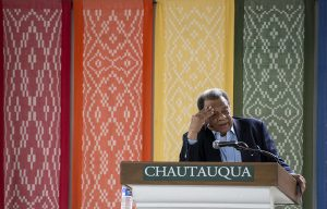 "Andrew Young, former U.S. ambassador for the United Nations, delivers his lecture ""What in the World is God Doing?"" in the Hall of Philosophy on July 11, 2016. Young has been identified as a prominant diplomat, activist, and minister who has also worked closely with Martin Luther King Jr. Photo by Sarah Holm"