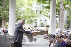 "Rabbi David Saperstein gives his lecture titled ""Champions of Faith: Effective Leadership for Religious Freedom and Social Justice"" as part of a week on ""Moral Leadership in Action"" July 12, 2016 in the Hall of Philosophy. Saperstein discussed how moral leaders should respond when they find themselves caught between two contradicting, yet valid, moral principles. Photo by Eslah Attar"