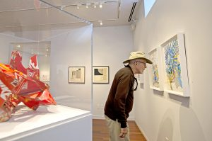 """Rev. Jim Ray looks at Lisa Hoke's """"Blue Collar"""" during the opening reception for """"The Art of Making Collages"""" in Fowler-Kellogg Art Center Wednesday June 29, 2016. Photo by Eslah Attar"""