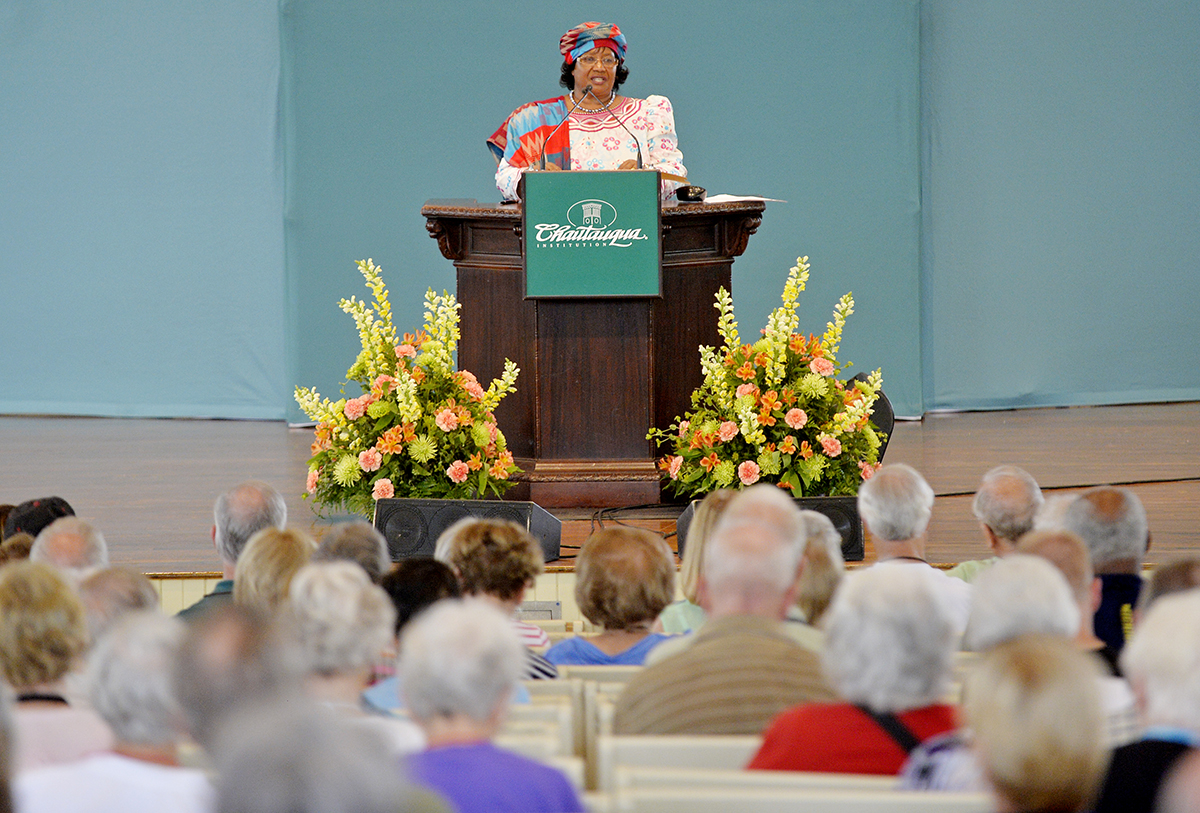 Former President of the Republic of Malawi Joyce Banda speaks on the Amphitheater stage during the morning lecture Wednesday, July 13, 2016. Banda, the first female president of Malawi, spoke about leadership and fighting corruption. Photos by Dave Munch.