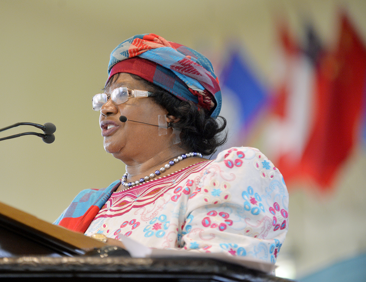 Former President of the Republic of Malawi Joyce Banda speaks on the Amphitheater stage during the morning lecture Wednesday, July 13, 2016.  Banda, the first female president of Malawi, spoke about leadership and fighting corruption.