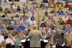 "The audience listens to Rev. Tony Campolo deliver his sermon ""Becoming Human"" during the morning worship service Sunday, July 17, 2016, in the Amphitheater."
