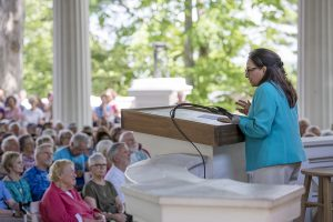 "Daisy Khan, founder and executive director of the Women's Islamic Initiative in Spirituality and Equality, spoke with Sr. Joan Chittister in a conversation-style lecture, ""Women in Religion: Acknowledging, Claiming, Living Leadership"" in the Hall of Philosophy on July 15, 2016. Photo by Sarah Holm"