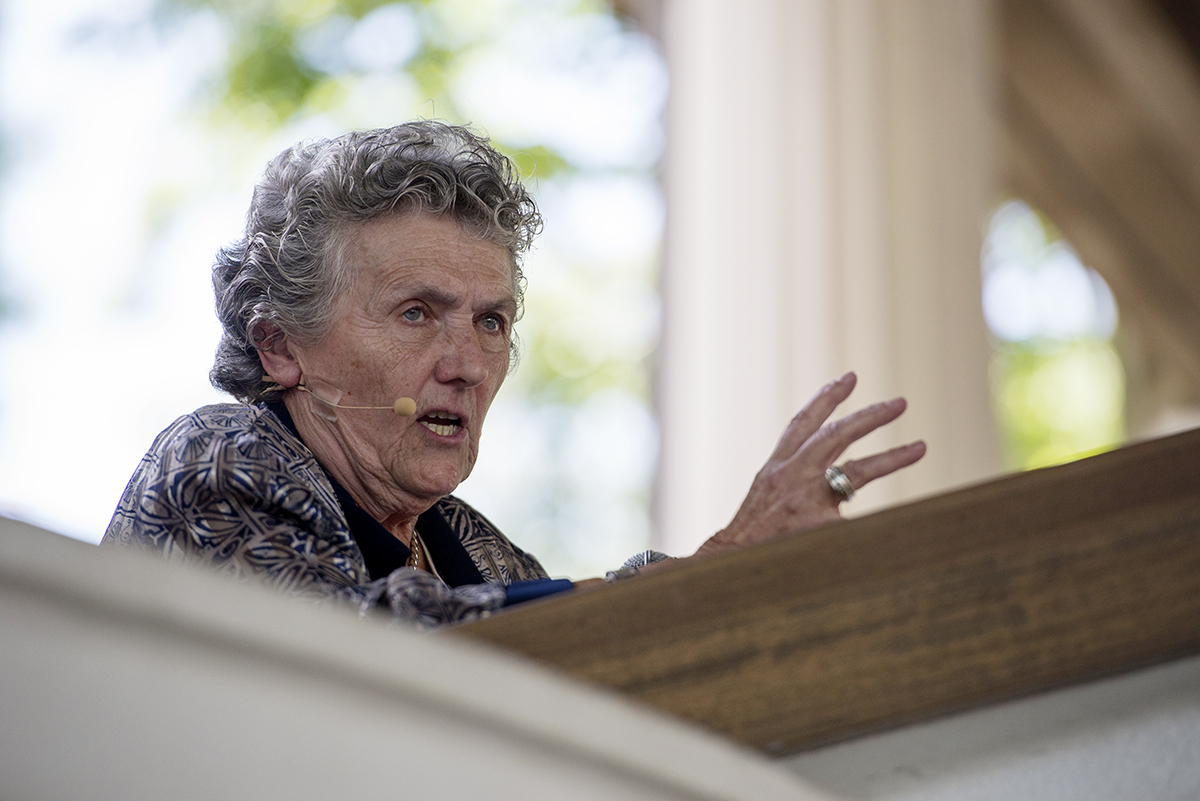 "Sr. Joan Chittister, OSB and best-selling author, spoke with Daisy Khan in a conversation-style lecture, ""Women in Religion: Acknowledging, Claiming, Living Leadership"" in the Hall of Philosophy on July 15, 2016. Photo by Sarah Holm"