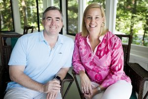 Trustee Kyle Keogh and his wife Liz Fox Keogh sit for a portrait in their home on the grounds July 14, 2016.