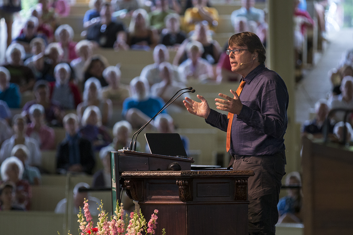 Journalist Charles C. Mann speaks at the morning lecture Tuesday, July 19, 2016, in the Amphitheater.