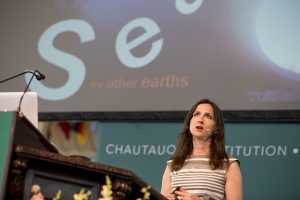 "Sara Seager, professor of planetary science and physics at the Massachusetts Institute of Technology, delivers her speech titled ""Our Search for Another Earth"" July 20, 2016 in the Amphitheater. Seager talked about her research on exoplanets and their atmospheres. Photo By Eslah Attar"