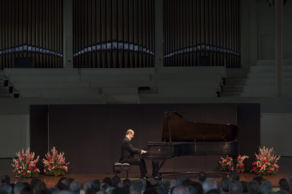 "Pianist Alexander Gavrylyuk performs Franz Schubert's ""Piano Sonata in A major, D. 664, op. 120"" in a recital at 8:15 PM on July 20, 2016, in the Amphitheater. Although this was a solo recital, Gavrylyuk will also perform with the Chautauqua Symphony Orchestra at 8:15 PM on July 23, 2016, in the Amphitheater. Photo by Carolyn Brown."
