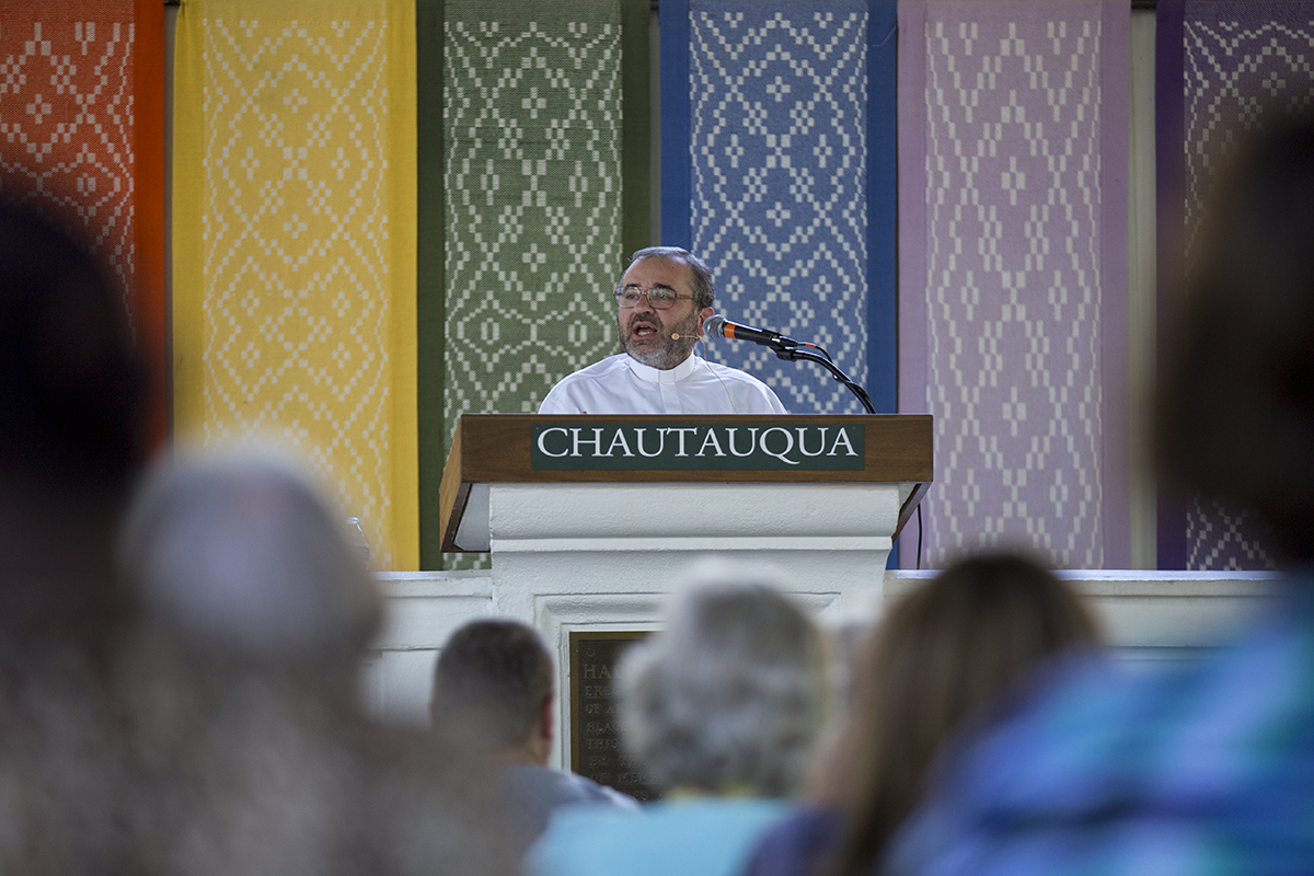 "Fr. José Grabriel Funes delivers his lecture ""The Road Map to Other Earths: A Spiritual Journey"" during the afternoon lecture Wednesday, July 20, 2016, at the Hall of Philosophy. Photo by: Mike Clark"