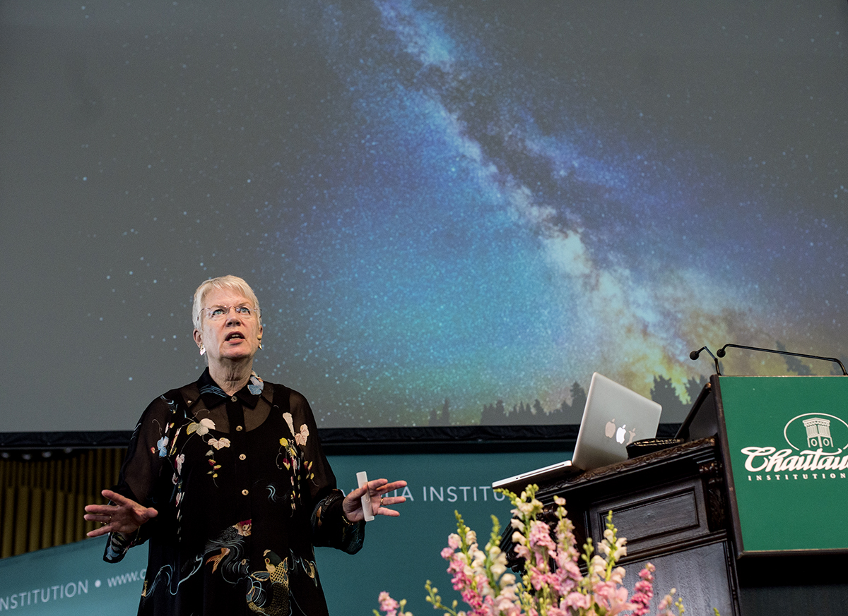 "Jill Tarter, founder and Bernard M. Oliver Chair for SETI Research, SETI Institute, delivers her lecture ""21st Century: The Century of Biology on Earth and Beyond"" in the Amphitheater stage Thursday, July 21, 2016."