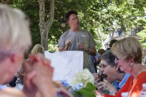 Steven Osgood, Artistic and General Director of Chautauqua Opera Company, addresses members of the Opera Guild at the Opera Guild Picnic at noon on July 21, 2016, on the lawn outside Norton Hall. Osgood thanked the Opera Guild for their support and talked about the Chautauqua Opera Company's 2017 season. Photo by Carolyn Brown.