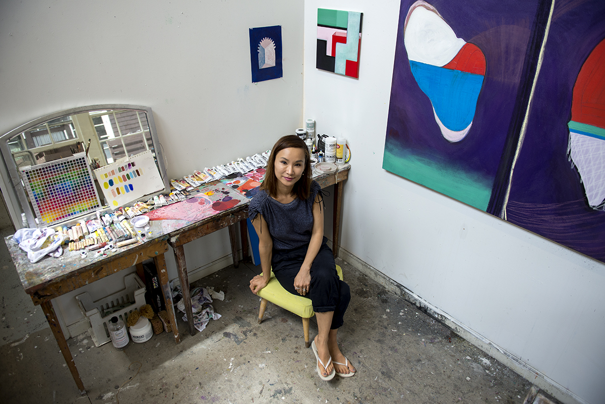 Kiwha Lee Blocman is a painting student who was born in Seoul, Korea, and was raised in New York City, Sydney, Seoul, Boston, and London. Her work will be featured in the Student Exposition at 3pm on Sunday, July 24th, at the Fowler Kellogg Art Center. Photo by Sarah Holm