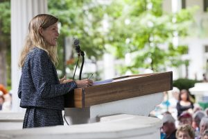 "Karenna Gore, director of the Center for Earth Ethics, Union Theological Ceremony, presents a lecture about the Week Five theme ""A Theology of Ecology"" at 2 PM on July 25, 2016, in the Hall of Philosophy. Gore discussed her experience with organizing faith-based activists to fight climate change. Photo by Carolyn Brown."
