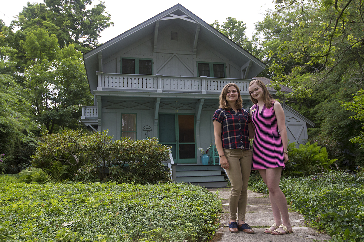 Chautauqua Institution interns Megan Stahlsmith, left, and Mary Elmore DeMott work in the Miller Cottage, the former home of Mina Miller and Thomas Edison.