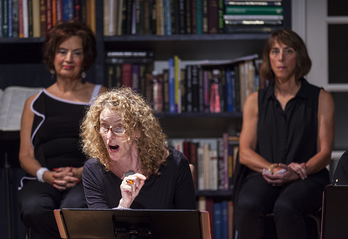 "Vivienne Benesch, center, performs during a dress rehearsal the Chautauqua Women's Club and Chautauqua Theater Company's joint production of Nora and Delia Ephron's ""Love, Loss, and What I Wore"" at 1 PM Monday, July 25, at Bratton Theater. Benesch is the Artistic Director of the Chautauqua Theater Company. Photo by Carolyn Brown."