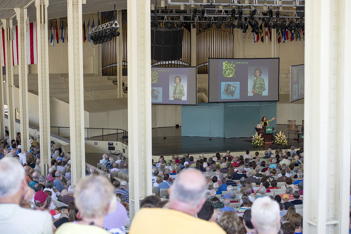 Nalini Nadkarni, a professor of biology and ecologist who launched the study of Costa Rican rain forest canopies, delivers her lecture on July 26, 2016 in the Amphitheater. Photo by Sarah Holm