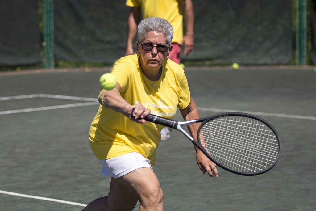 Judy Williams plays in the team tennis tournament Saturday, July 23, 2016, at the Chautauqua Tennis Center. Photo by: Mike Clark
