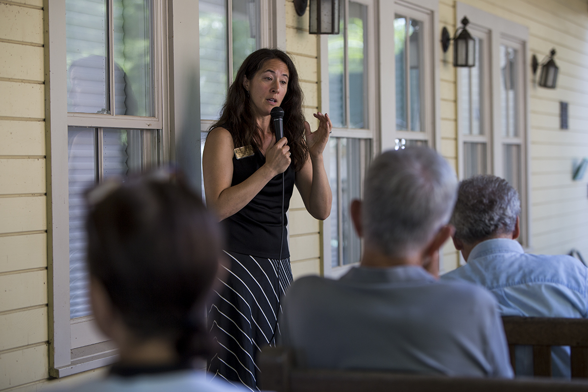 Deborah Sunya Moore speaks during the Board of Trustees porch chat July 27, 2016 at the Hultquist porch. Photo by Eslah Attar