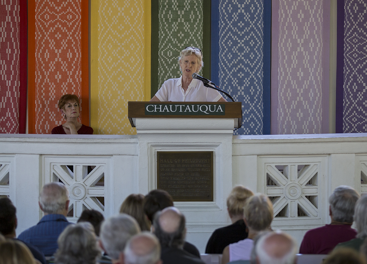 "Rabbi Ellen Bernstein delivers her lecture ""A Creator God and a Sense of Place: A Jewish Ecotheology,"" during the afternoon lecture Tuesday, July 27, 2016, at the Hall of Philosophy. Photo by: Mike Clark"