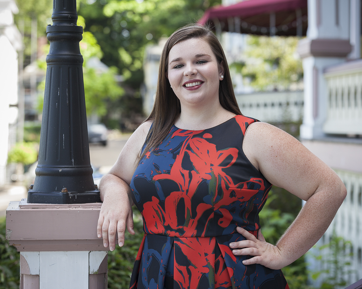 "Voice student Kathryn Henry poses for a portrait on Wednesday, July 26, 2016, outside the Athenaeum Hotel. Henry will sing Gorecki's ""Symphony of Sorrowful Songs"" with the Chautauqua Symphony Orchestra tonight at 8:15 P.M. in the Amphitheater. Photo by Carolyn Brown."